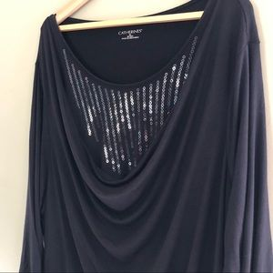 Catherine's Black 3/4 Sleeve Draped Sequins 3X Top
